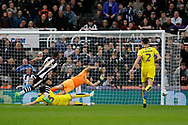 Newcastle United forward Ayoze Perez (17) has a shot just wide of the post (0-0) during the EFL Sky Bet Championship match between Newcastle United and Burton Albion at St. James's Park, Newcastle, England on 5 April 2017. Photo by Richard Holmes.