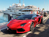 Right-hand drive, UK-registered, OZ1, Lamborghini, sports car, at the marina, Puerto Banus, Spain, October, 2016, 201610102965. The registration number was issued in N Ireland.<br /> <br /> Copyright Image from Stanley Matchett c/o Victor Patterson, 54 Dorchester Park, <br /> Belfast, UK, BT9 6RJ<br /> <br /> t1: +44 28 9066 1296  (from Rep of Ireland 048 9066 1296)<br /> t2: +44 28 9002 2446  (from Rep of Ireland 048 9002 2446)<br /> m: +44 7802 353836<br /> <br /> e1: victorpatterson@me.com<br /> e2: victorpatterson@gmail.com<br /> <br /> www.victorpatterson.com<br /> <br /> IMPORTANT: Please see my Terms and Conditions of Use at <br /> www.victorpatterson.com<br /> <br /> It is IMPORTANT that you familiarise yourself with them. They are available on my website.<br /> <br /> Images used on the Internet must be visibly watermarked i.e. victorpatterson.com within the body of the image and copyright metadata must not be deleted. Images used on the Internet have a size restriction of 4kbs and are chargeable at the then current NUJ rates.<br /> <br /> This image is only available for the use of the named download recipient i.e. television station, newspaper, magazine, book publisher, etc, and must not be passed on to any third party. It is also downloaded on condition that each and every usage is notified within 7 days to victorpatterson@me.com