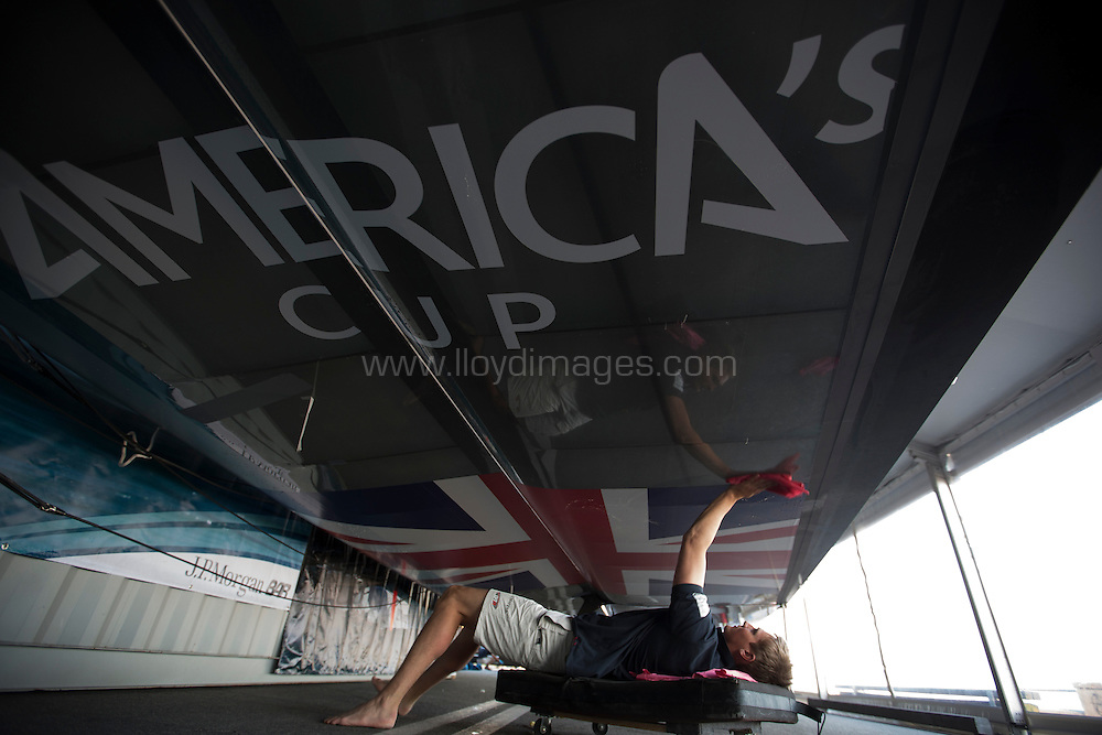 America's Cup World Series Naples / ACWS Naples. Italy. The J.P.Morgan BAR AC45 wing being serviced by Kyle Langford.Please credit: Lloyd Images