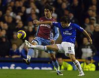 Photo: Paul Greenwood.<br />Everton v Aston Villa. The Barclays Premiership. 11/11/2006. Evertons Simon Davies, right, shields the ball from Villa's Juan Pablo Angel.