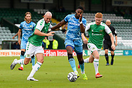 Jamille Matt (14) of Forest Green Rovers battles for possession during the Pre-Season Friendly match between Yeovil Town and Forest Green Rovers at Huish Park, Yeovil, England on 31 July 2021.