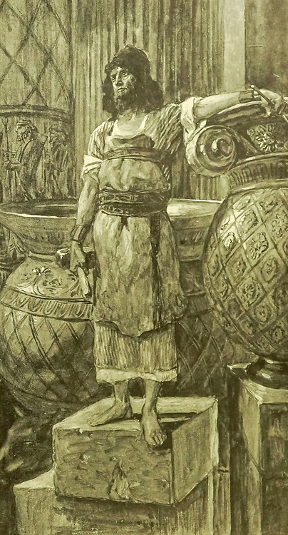 """HIRAM, THE FOUNDER OF THE TWO PILLARS. I Kings vii. 14. """"He was a widow's son of the tribe of Naphtali, and his father was a man of Tyre, a worker in brass: and he was filled with wisdom, and understanding, and cunning to work all works in brass. From the book ' The Old Testament : three hundred and ninety-six compositions illustrating the Old Testament ' Part II by J. James Tissot Published by M. de Brunoff in Paris, London and New York in 1904"""