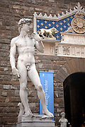 Italy, Florence, Statue of David by Michelangelo outside the Palazzo Vecchio in the Piazza della Signora