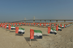 February 24, 2019 - Abu Dhabi, United Arab Emirates - A field with the National UAE flags seen near the circuit, during the Team Time Trial, the opening ADNOC stage of the inaugural UAE Tour 2019..On Sunday, February 24, 2019, Abu Dhabi, United Arab Emirates. (Credit Image: © Artur Widak/NurPhoto via ZUMA Press)