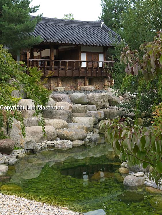 Detail at Korean garden at Garten der Welt or Gardens of the World park in Marzahn in Berlin Germany