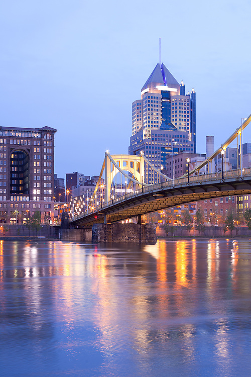 Roberto Clemente Bridge over Allegheny River at dusk, Pittsburgh, Pennsylvania, United States.
