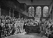 William Pitt the Younger (1759-1806) addressing the House of Commons, 1793. Engraving after painting by Karl A Hickel.