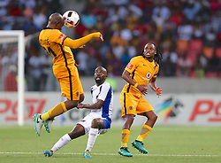 Willard Katsande (c) of Kaizer Chiefs (L) Sandile Zuke of Chippa United, and Siphiwe Tshabalala of Kaizer Chiefs (R) during the 2016 Premier Soccer League match between Chippa United and Kaizer Chiefs held at the Nelson Mandela Bay Stadium in Port Elizabeth, South Africa on the 3rd December 2016.<br /> <br /> Photo by:   Richard Huggard / Real Time Images
