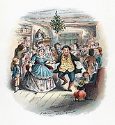 Mr Fezziwig's Ball, illustration by John Leech for  'A Christmas Carol' by Charles Dickens( London,1843). This novella was the earliest and most popular of Dickens' Christmas stories. Scene from the end of the book shows jollity and bonhomie, with fiddler (violinist) playing for dancers. Kissing under mistletoe, left,  and evergreen decoration hanging from ceiling are vestiges of pre-Christian winter rites.