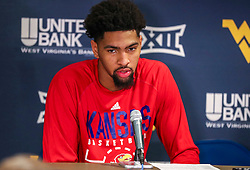 Jan 19, 2019; Morgantown, WV, USA; Kansas Jayhawks forward Dedric Lawson (1) talks to the media after the game against the West Virginia Mountaineers at WVU Coliseum. Mandatory Credit: Ben Queen-USA TODAY Sports