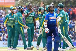 July 28, 2018 - Dambulla, Sri Lanka - South African cricketer Kagiso Rabada celebrates during the 1st One Day International cricket match between Sri Lanka and South Africa at Rangiri Dambulla International Stadium, Dambulla, Sri Lanka on Sunday 29 July 2018  (Credit Image: © Tharaka Basnayaka/NurPhoto via ZUMA Press)