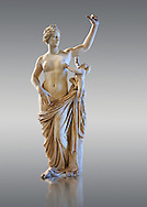 Venus and Cupid - a its or 2nd Roman statue restored in the 17th century by Alessandro l'Algarde. The statue was acquired in Rome in 1630 by Cardinal Richelieu. Restored by Alessandro l'Algarde the modern head is a copy of the Medici Venus or Aphrodite in Florence.  The Richelieu Collection, Inv No. MR 386 (Usual No Ma 2287), Louvre Museum, Paris. .<br /> <br /> If you prefer to buy from our ALAMY STOCK LIBRARY page at https://www.alamy.com/portfolio/paul-williams-funkystock/greco-roman-sculptures.html- Type -    Louvre    - into LOWER SEARCH WITHIN GALLERY box - Refine search by adding a subject, place, background colour,etc.<br /> <br /> Visit our CLASSICAL WORLD HISTORIC SITES PHOTO COLLECTIONS for more photos to download or buy as wall art prints https://funkystock.photoshelter.com/gallery-collection/The-Romans-Art-Artefacts-Antiquities-Historic-Sites-Pictures-Images/C0000r2uLJJo9_s0c