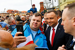 May 2, 2019 - Warsaw, Mazowieckie voivodship, Poland - Polish President Andrzej Duda seen taking a selfie with his supporter after the ceremony..Ceremonial elevation of the Polish state flag at the Clock Tower of the Royal Castle and a couple of presidential members attended the ceremony. (Credit Image: © Lidia Mukhamadeeva/SOPA Images via ZUMA Wire)