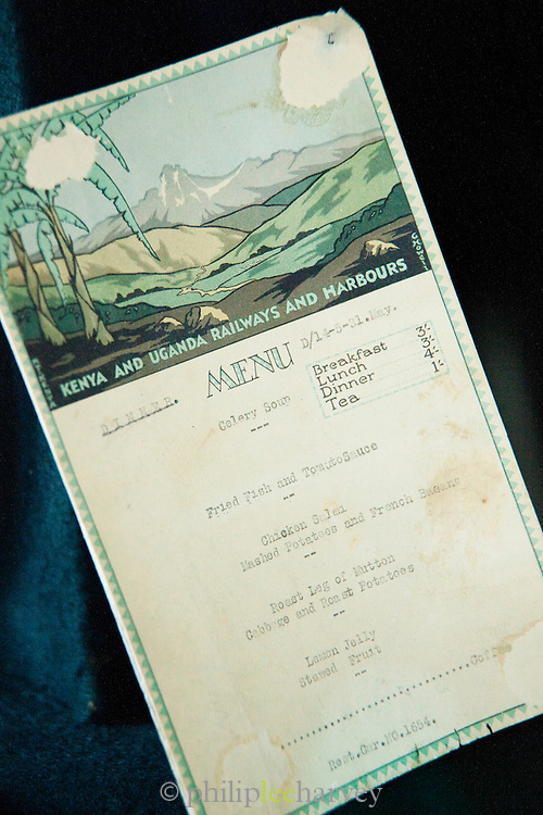 An old menu from the restaurant carriage of a Kenyan Railways train. Seen at the Nairobi Railway Museum in Kenya