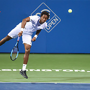 GAEL MONFILS hits a serve during his second round match at the Citi Open at the Rock Creek Park Tennis Center in Washington, D.C.