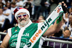 Supporters of Slovenia during basketball match between National Teams of Finland and Slovenia at Day 3 of the FIBA EuroBasket 2017 at Hartwall Arena in Helsinki, Finland on September 2, 2017. Photo by Vid Ponikvar / Sportida