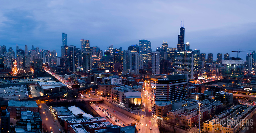 Drone aerial photo of Chicago near intersections of Milwaukee Avenue and W. Erie Street