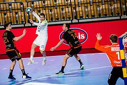 Miha Zarabec of Slovenia during Men's EHF EURO 2022 Qualifiers between national teams Slovenia and Netherlands in Arena Zlatorog, Celje, Slovenia on 10. January, 2021. Photo by Grega Valancic