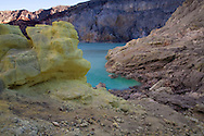The crater lake at the Kawah Ijen Sulphur Mines in East Java, Indonesia, Southeast Asia