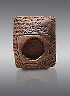 Toprak Bagis Belgesi  cuneiform donation document. Hittite Period 1600 - 1450 BC.  Hattusa Boğazkale. Çorum Archaeological Museum, Corum, Turkey .<br />  <br /> If you prefer to buy from our ALAMY STOCK LIBRARY page at https://www.alamy.com/portfolio/paul-williams-funkystock/hittite-art-antiquities.html  - Type Cuneiform  into the LOWER SEARCH WITHIN GALLERY box. Refine search by adding background colour, place,etc<br /> <br /> Visit our HITTITE PHOTO COLLECTIONS for more photos to download or buy as wall art prints https://funkystock.photoshelter.com/gallery-collection/The-Hittites-Art-Artefacts-Antiquities-Historic-Sites-Pictures-Images-of/C0000NUBSMhSc3Oo