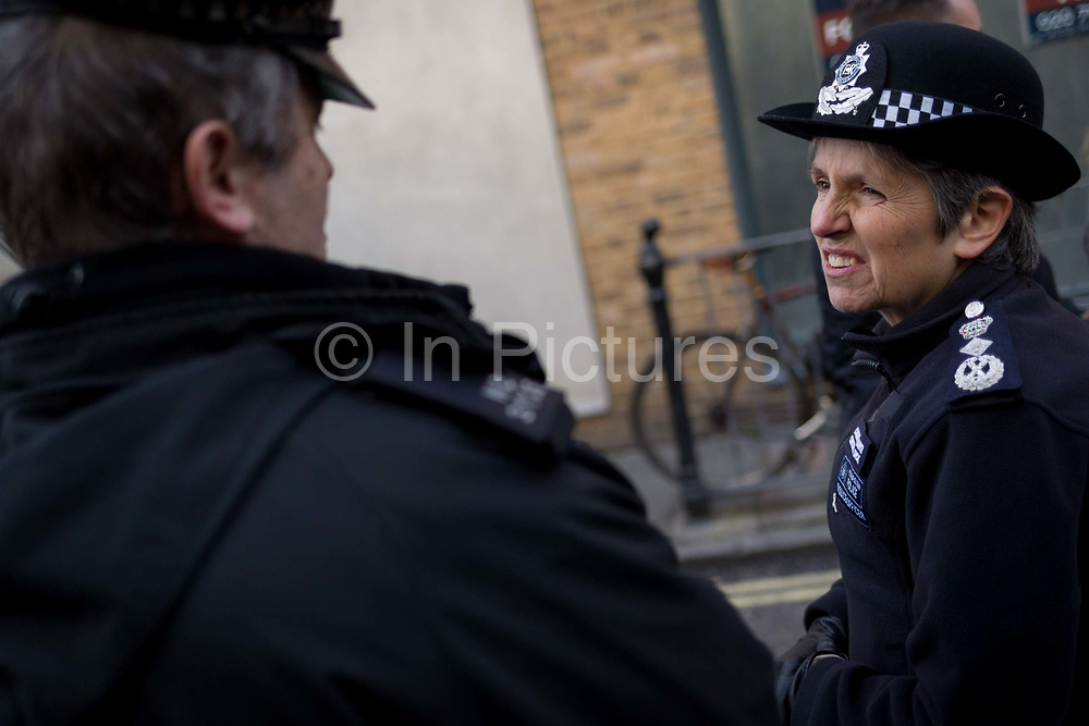 The morning after the terrorist attack at Fishmongers Hall on London Bridge, in which Usman Khan a convicted, freed terrorist killed 2 during a knife a attack, then subsequently tackled by passers-by and shot by armed police - Met Police Commissioner Cressida Dick tours Borough Market to speak with  her officers, on 30th November 2019, in London, England.