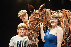 © Licensed to London News Pictures. 10/05//2012. London, UK. On stage for the first time Billy Elliot, Joey  the spectacular life size horse puppet  from War Horse, and Lissa Hermans, a blind singer from Chickenshed Theatre. All three will perform at the Jubilee Family Festival Presented on 2-3 June Hyde Park. Photo shows Curtis Jordan (horse handler), Adam Vesperman (Billy Elliot), Lissa Hermans and Joey (War Horse).  Photo credit : Tony Nandi/LNP