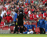 Photo: Chris Ratcliffe.<br />Arsenal v Middlesbrough. The Barclays Premiership. 09/09/2006.<br />Gareth Southgate of Middlesbrough turns away as referee Rob Styles sends off George Boateng (on floor).