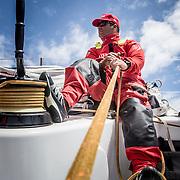 © María Muiña I MAPFRE: Pablo Arrarte entrenando a bordo del MAPFRE. Pablo Arrarte training on board MAPFRE.