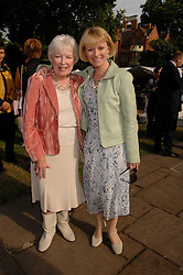Left to right, actress JUNE WHITFIELD and her daughter actress SUZY QUINN at the Lady Taverners Westminster Abbey Garden Party, The College Garden, Westminster Abbey, London SW1 on 10th July 2007.<br />