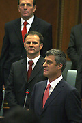 Feb 17, 2008 - Pristina, Kosovo - Kosovo Prime Minister Mr. Hashim THACI, former KLA (Kosovo Liberation) political leader reading the Declaration of Independence in the Kosovo Parliament Assembly-Room. Behind him, are different Ministers of his actual government.<br /> (Credit Image: © Vedat Xhymshiti/ZUMA Press)