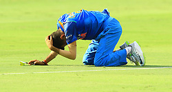 September 28, 2018 - Dubai, United Arab Emirates - Indian cricketer Yuzvendra Chahal reacts after dropping a catch during the final cricket match of Asia Cup 2018  between India and Bangladesh at Dubai International cricket stadium,Dubai, United Arab Emirates. 09-28-2018  (Credit Image: © Tharaka Basnayaka/NurPhoto/ZUMA Press)