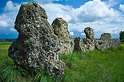 The Rollright Stones monument ancient stone circle, the King's Men, at Little Rollright in The Cotswolds, Oxfordshire, UK.