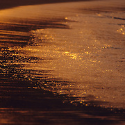 Detail of wave with golden light. Zipolite. Oaxaca, Mexico.