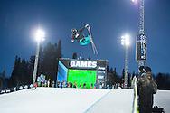 Taylor Seaton during Ski Superpipe Practice during 2015 X Games Aspen at Buttermilk Mountain in Aspen, CO. ©Brett Wilhelm/ESPN
