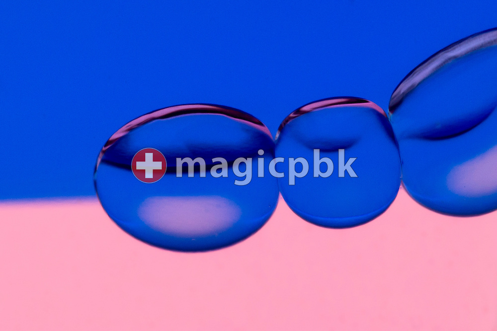 Bubbles seen in an Aura-Soma Equilibrium no. 20 (B20, Blue / Pink) during a studio product photo session held at Aura-Soma Germany in Heiligenhaus, Germany, Monday, Sept. 15, 2014. (Photo by Patrick B. Kraemer / MAGICPBK)