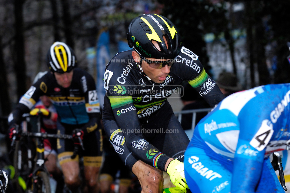 Belgium, Sunday 13th December 2015: Sven Nys on the first lap of the elite men's race at the Hansgrohe Superprestige cyclocross event at Spa Francorchamps. Nys would ultimately finish second in the race to Wout Van Aert.<br /> <br /> Copyright 2015 Peter Horrell