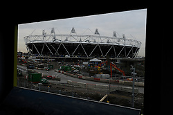 © under license to London News Pictures. .2010,12,10,   Today  (Friday)  .The Olympic Stadium being built in Stratford, East London, will host the Athletics and Paralympic Athletics events at the London 2012 Games, as well as the Opening and Closing Ceremonies..A view from the view tube building window..Picture credit should read Grant Falvey/London News Pictures...