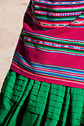 Bolivia June 2013. Cajamarca. Meeting with women. Colouful skirt and shawl of Christina Mamani.