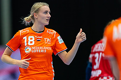 Kelly Dulfer of Netherlands in action during the Women's EHF Euro 2020 match between Croatia and Netherlands at Sydbank Arena on december 06, 2020 in Kolding, Denmark (Photo by RHF Agency/Ronald Hoogendoorn)