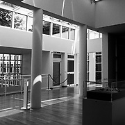 Frankfurt am Main, Germany, Darmstadt, 1986: Interior  gallery second floor, of the Museum for the Decorative Arts at Schaumainkai St. - Richard Meier Architect - Get and touch, for commercial uses or other sizes. Photographs by Alejandro Sala
