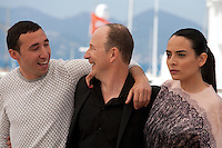 Actor Sofian Khammes,  director Karim Dridi and  actress Nailia Harzoune at the Chouf film photo call at the 69th Cannes Film Festival Monday 16th May 2016, Cannes, France. Photography: Doreen Kennedy