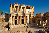 Photo of The library of Celsus. Images of the Roman ruins of Ephasus, Turkey. Stock Picture & Photo art prints 1 .<br /> <br /> If you prefer to buy from our ALAMY PHOTO LIBRARY  Collection visit : https://www.alamy.com/portfolio/paul-williams-funkystock/ephesus-celsus-library-turkey.html<br /> <br /> Visit our TURKEY PHOTO COLLECTIONS for more photos to download or buy as wall art prints https://funkystock.photoshelter.com/gallery-collection/3f-Pictures-of-Turkey-Turkey-Photos-Images-Fotos/C0000U.hJWkZxAbg