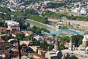 Georgia, Tbilisi, view of the city and Kura (Mtkvari) river pedestrian bridge