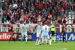 May 13, 2018 - Turin, Piedmont, Italy - Alberto Grassi of S.P.A.L. celebrates after scoring with teammates during the Serie A football match between Torino FC and S.P.A.L. at Olympic Grande Torino Stadium on May 13, 2018 in Turin, Italy. (Credit Image: © Massimiliano Ferraro/NurPhoto via ZUMA Press)