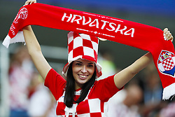 Female fan of Croatia during the 2018 FIFA World Cup Russia Semi Final match between Croatia and England at the Luzhniki Stadium on July 01, 2018 in Moscow, Russia
