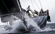 """Image licensed to Lloyd Images <br /> The Royal Yacht Squadron Bicentenary Regatta . Pictures of the maxi """"Jethou"""" shown here racing around the Isle of Wight as part of the 200th anniversary sailing week.<br /> Credit: Lloyd Images"""