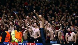 CSKA Moscow fans in the stands show their support