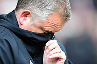 Sheffield United manager Chris Wilder pulls his coat up over his face<br /> <br /> Photographer Chris Vaughan/CameraSport<br /> <br /> The EFL Sky Bet Championship - Sheffield United v Preston North End - Saturday 28th April 2018 - Bramall Lane - Sheffield<br /> <br /> World Copyright © 2018 CameraSport. All rights reserved. 43 Linden Ave. Countesthorpe. Leicester. England. LE8 5PG - Tel: +44 (0) 116 277 4147 - admin@camerasport.com - www.camerasport.com