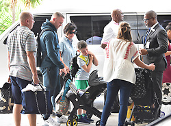 EXCLUSIVE: *NO WEB UNTIL 1200PM BST MAY 23* Wayne and Coleen Rooney and family arrives at Grantley Adams International airport in Barbados. One of the couple's sons is spotted with a red eye as Coleen pushed him in a stroller. 17 May 2018 Pictured: Wayne Rooney and Coleen Rooney. Photo credit: MEGA TheMegaAgency.com +1 888 505 6342