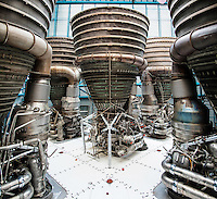 US, Florida. John F. Kennedy Space Center. F-1 engines on a Saturn V at the Apollo/Saturn V Center. Stitched panorama.